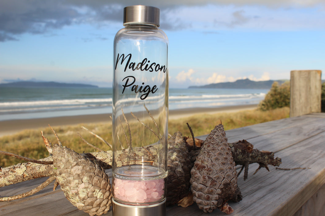 Crystal Water Bottle - Rose Quartz Point or Chip Base