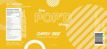 Load image into Gallery viewer, Label for The Pop'd Shop's Cardi Bee Cardamom and Honey Soda (145 calories/can)