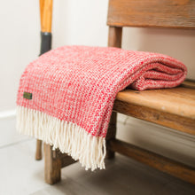 Load image into Gallery viewer, Pure New Wool Red and Silver Throw