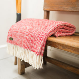 Pure New Wool Red and Silver Throw