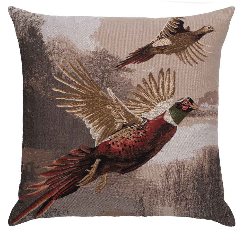 Flying Pheasants tapestry cushion