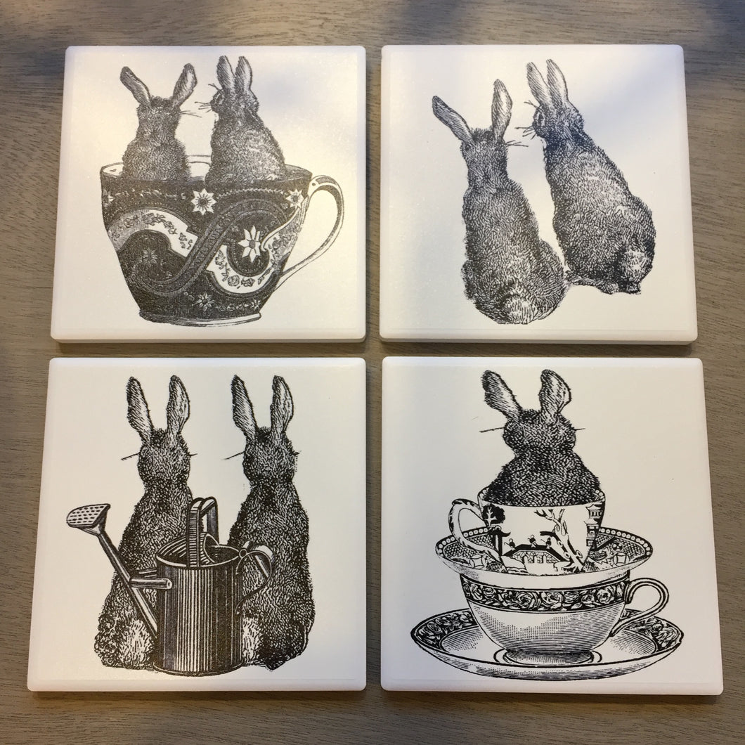 Rabbit ceramic coasters