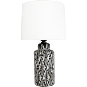 Indochine Noir Ceramic Lamp with Ivory Shade
