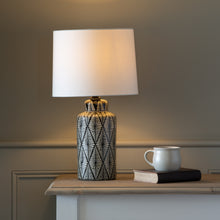 Load image into Gallery viewer, Indochine Noir Ceramic Lamp with Ivory Shade