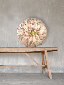 Dahlia round Printed Velvet Cushion by Vanilla Fly