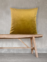 Load image into Gallery viewer, Mustard Velvet Cushion by Vanilla Fly