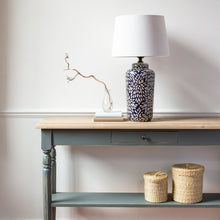 Load image into Gallery viewer, Navy and Grey Petal Lamp with White Shade