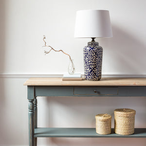 Navy and Grey Petal Lamp with White Shade