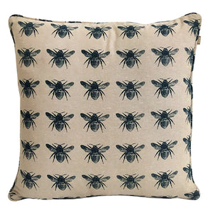 Honey Bee Cushion - Prussian Blue