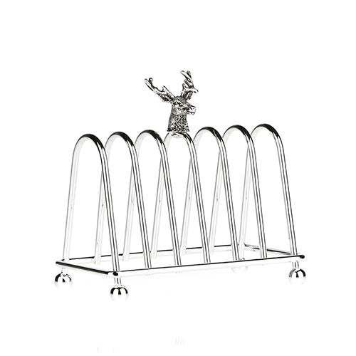 Silver plated Toast Rack with Stag's Head