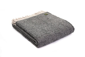 Pure New Wool Charcoal and Silver Throw