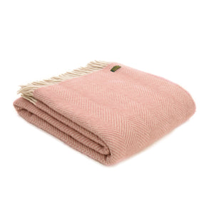 Pure New Wool Dusky Pink and Pearl Throw