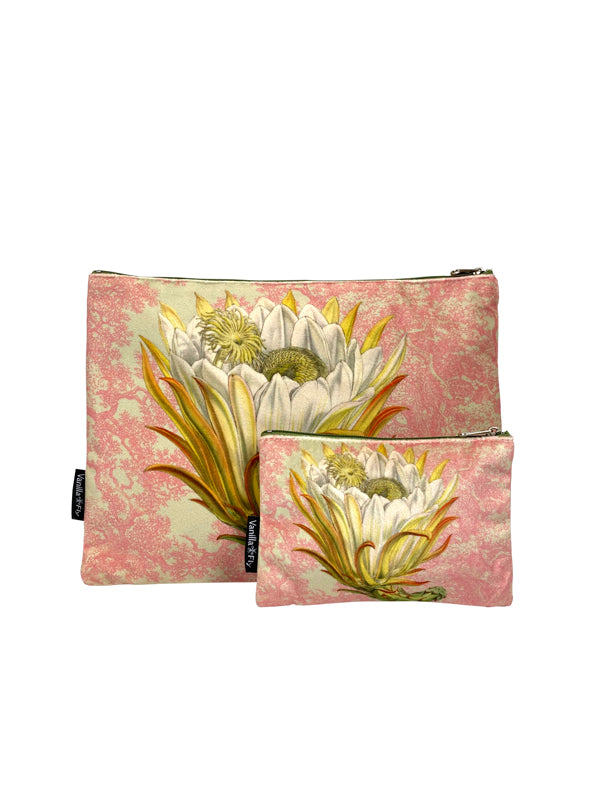 Protea Pink Toile - Makeup Bag & Purse Set