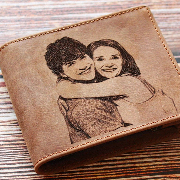 Personalized Mens Wallet, Leather Wallet Bifold RFID Personalized Gifts for Men