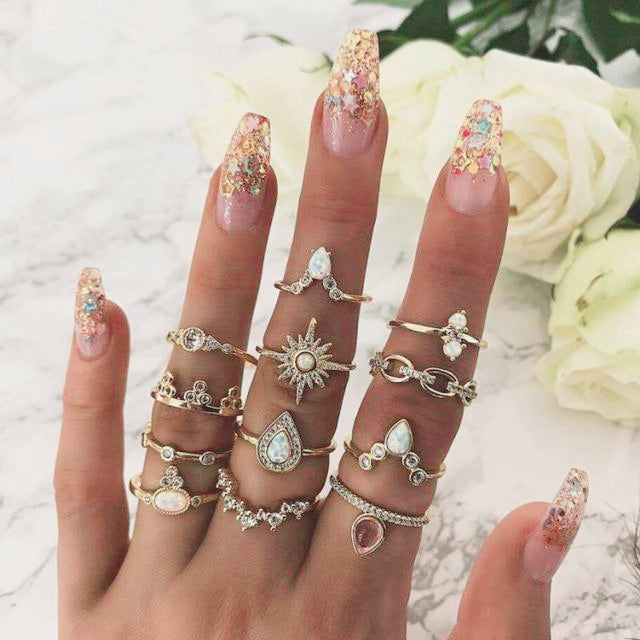 Ring Set Multiple Styles - 10 Pieces Ring Set