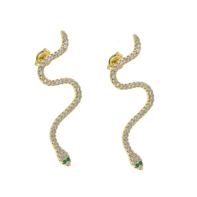 Gold-green Snake Earring Micro Pave