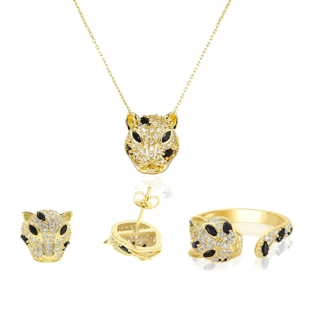 Gold Color Jaguar Earring, Ring & Necklace