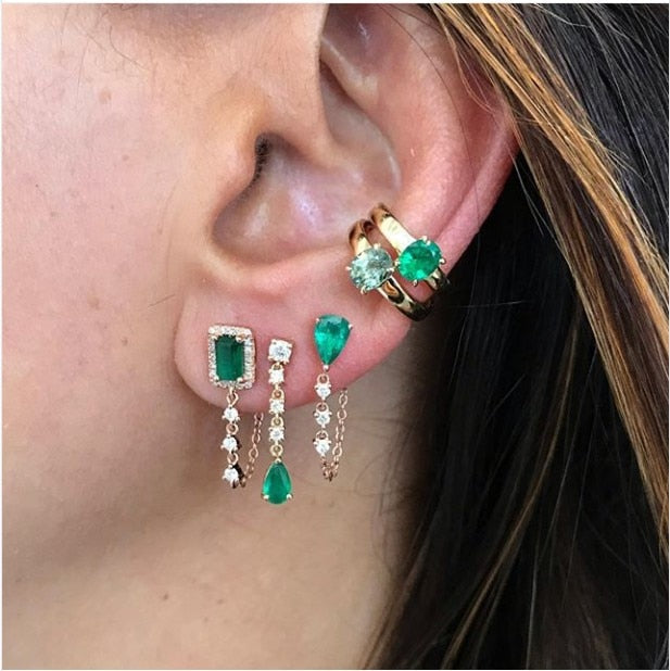 Tear Drop Tassel Chain Earring Colorful Birthstone