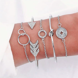 4 Pcs/set Crystal Leaves Gold Bracelet