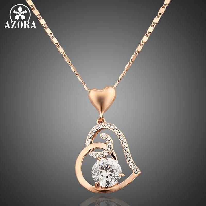 Rose Gold Color Double Heart Necklace with Austrian Crystals - eVariah Shop