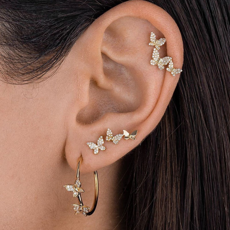 4Pcs Crystal Butterfly AEarrings