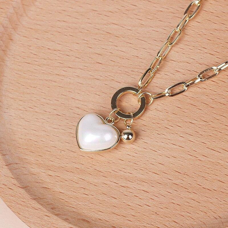 Pearl Love Pendant Necklace Heart-shaped - eVariah Shop