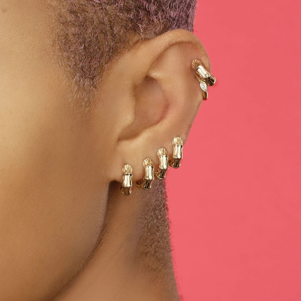 Circle Hoop Earrings - Punk Crystal