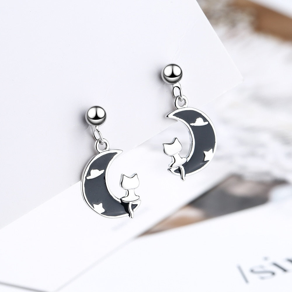 Sterling Silver Moon Cat Stud Earrings