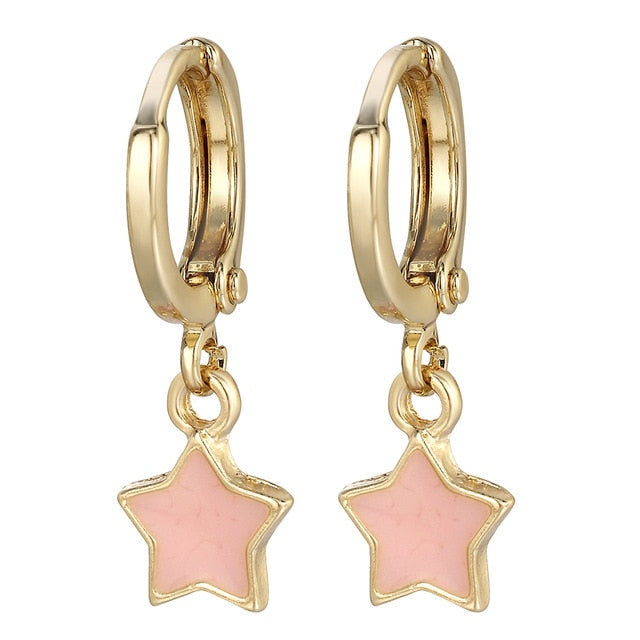 Sloong New Star Moon Hoop Earrings for Women Enamel Gold Hoop Earrings jewelry Endless Earrings Drop shipping