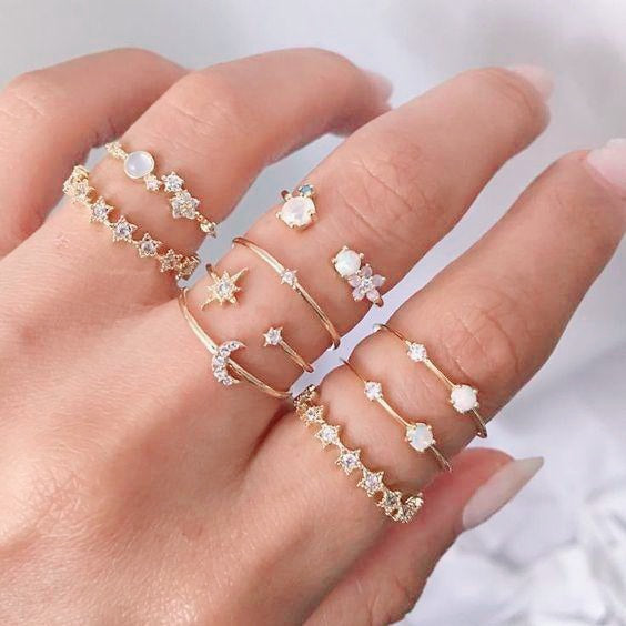 Crystal Star Moon Ring Set