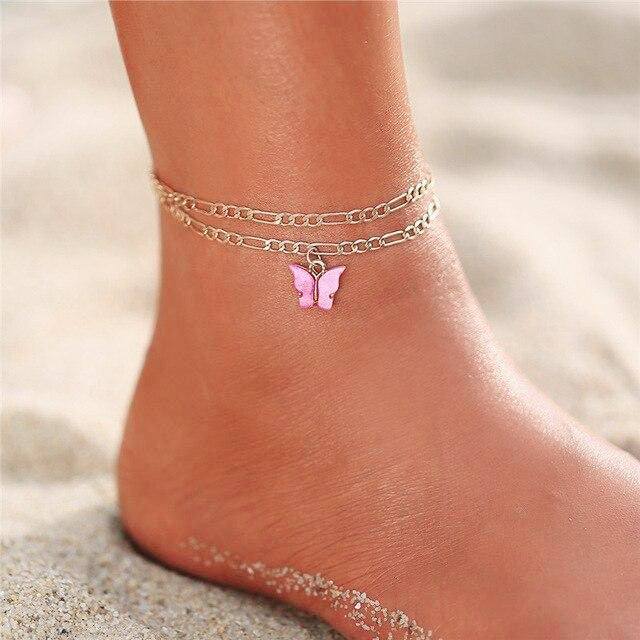 Multilayered Lock-Snake Chain Anklet - Multiple Styles