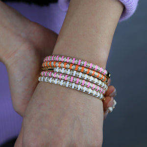 Enamel Clear CZ Colorful Bangle Bracelet