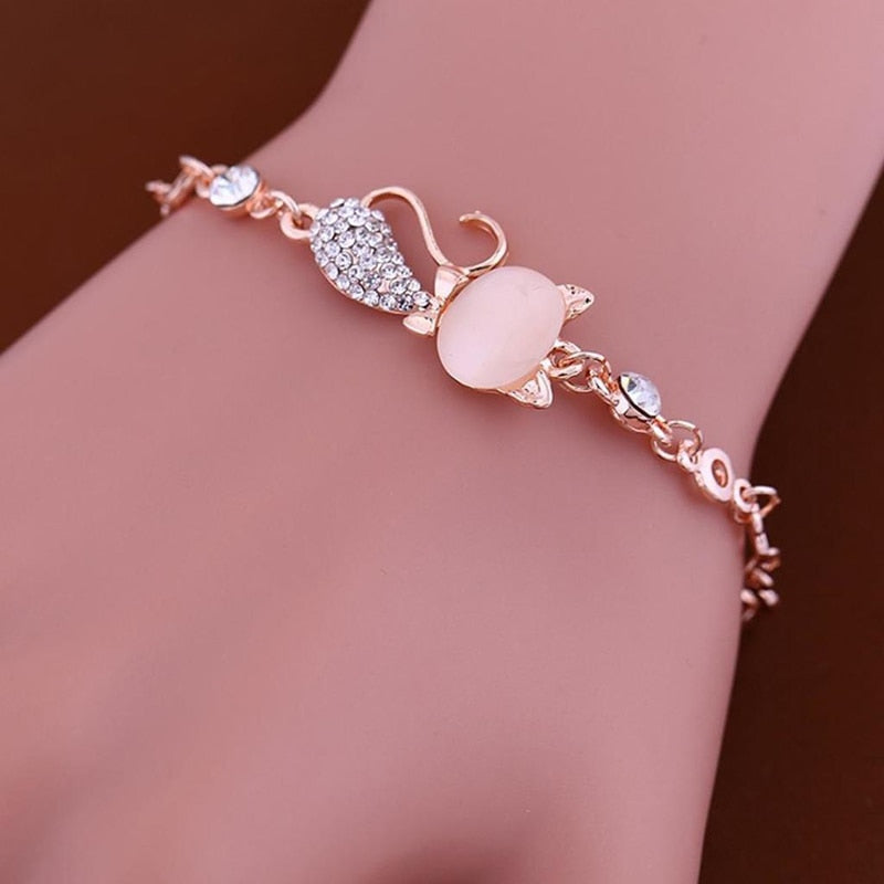 Cat Rhinestone Bangle Bracelet
