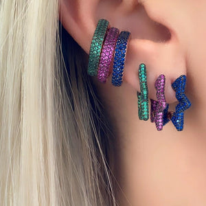 Square Clip Colorful Earring - Geometric No Piercing Style