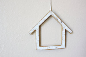 Peace, Love, Home Wall Hanging - Speckled Clay, White - Flannel Feather