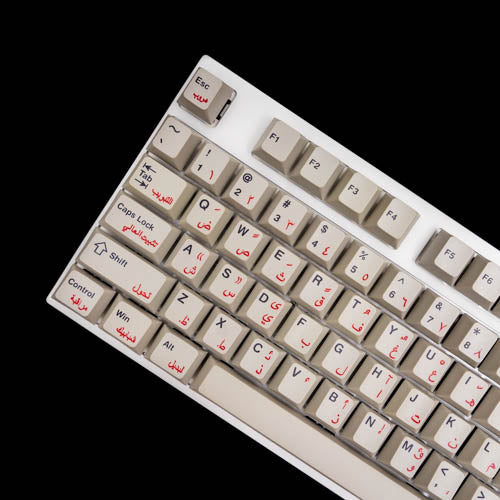 Dye Sublime PBT Old Style Gray w/ Red Arabian & Black Legends ANSI104 Keycap Set