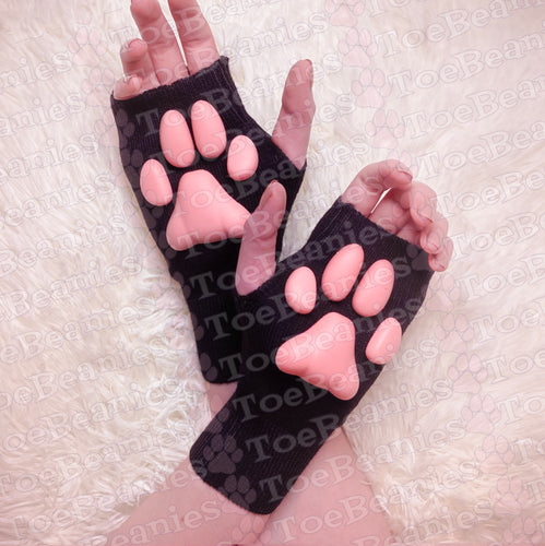 PREORDER ToeBeanies Pink Kitten Pawpads on Black Mittens