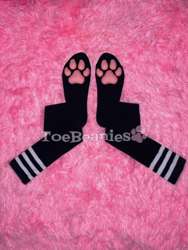 Black w/ White Striped Socks with Pink ToeBeanies