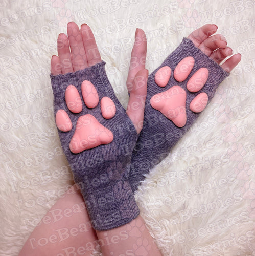 PREORDER ToeBeanies Pink Kitten Pawpads on Grey Mittens