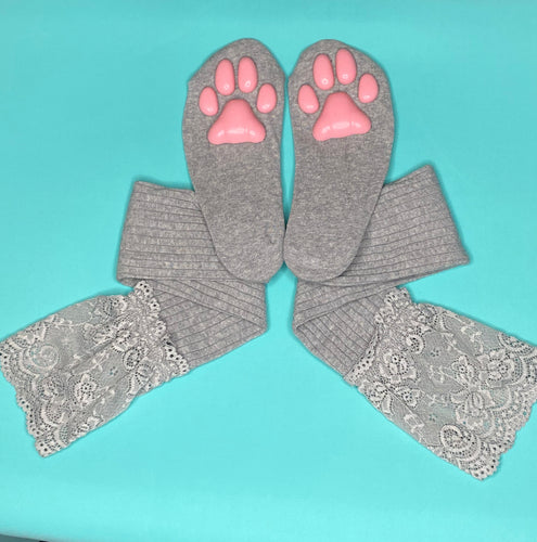 Pink Kitten ToeBeanies on Grey Socks w/ Lace
