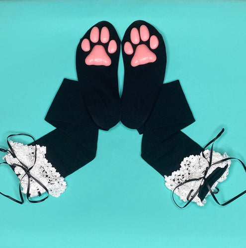 Pink Kitten ToeBeanies on Black w/ White Lace Socks