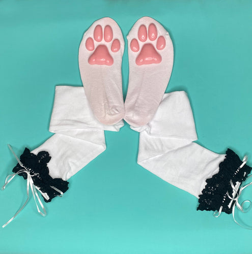 Pink Kitten ToeBeanies on White w/ Black Lace Socks