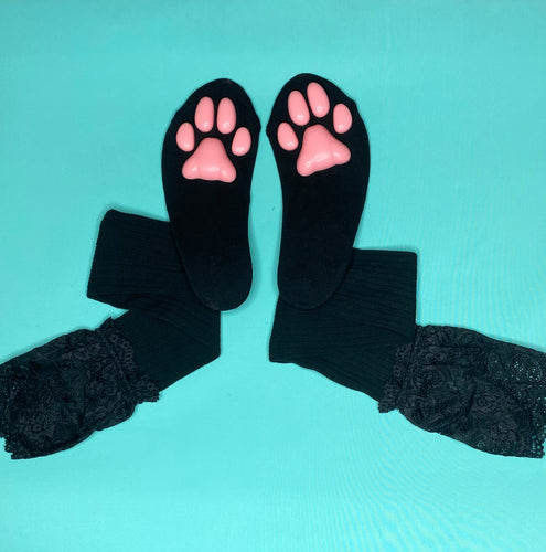 Pink Kitten ToeBeanies on Black Socks w/ Lace
