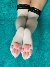 Load image into Gallery viewer, PREORDER Pink Kitten ToeBeanies on Dark Grey w/ White Striped Socks