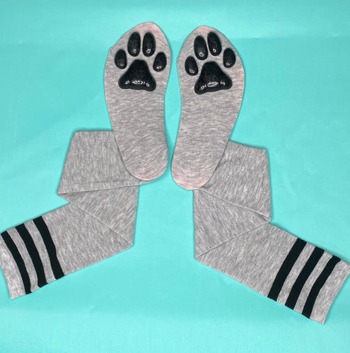 Black Kitten ToeBeanies on Grey w/ Black Striped Socks