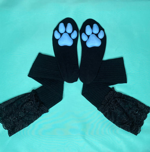 Blue Puppy ToeBeanies on Black Socks w/ Lace