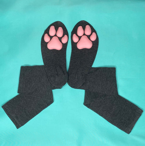 Pink Puppy ToeBeanies on Solid Dark Grey Socks