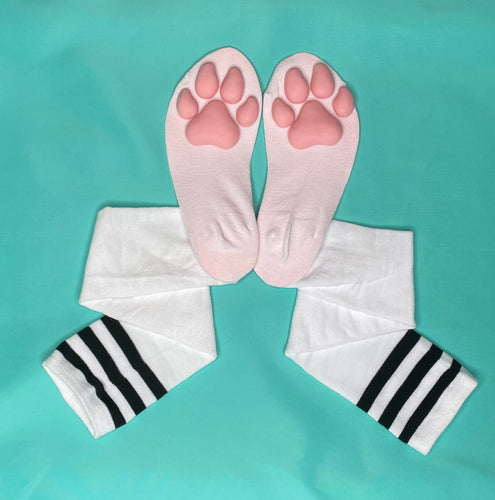 PREORDER Pink Puppy ToeBeanies on White w/ Black Striped Socks