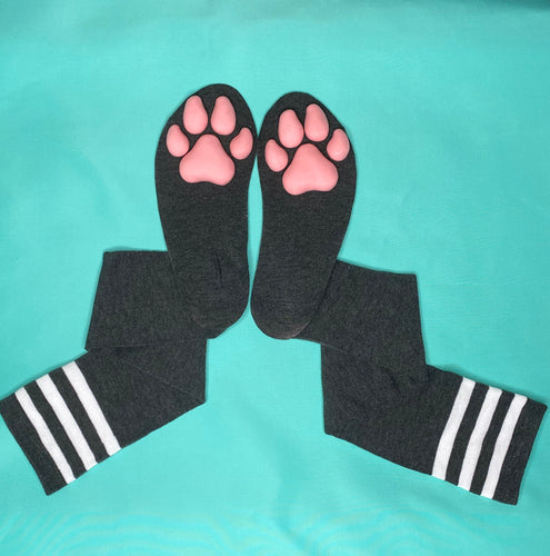 Pink Puppy ToeBeanies on Dark Grey w/ White Striped Socks