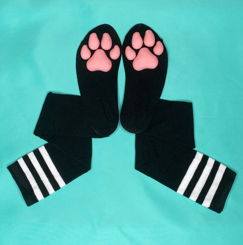 PREORDER Pink Puppy ToeBeanies on Black w/ White Striped Socks